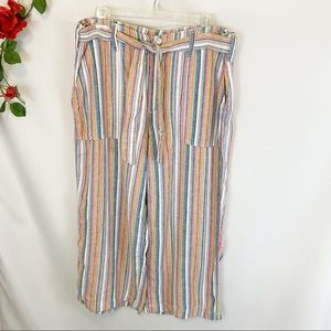 NWT Seven7 Rainbow Stripes Belted Wide Leg Pants